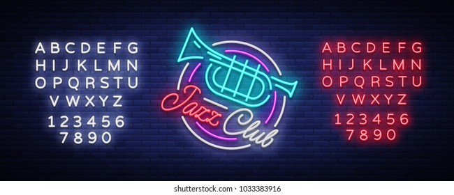 Jazz Club Neon Vector. Neon sign, Logo, Brilliant Banner, Bright Night Advertising for your projects on Jazz Music. Live music. Editing text neon sign