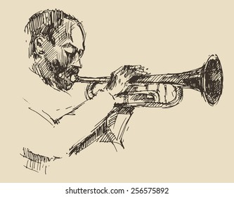 JAZZ concept, man playing the trumpet, music vintage illustration, engraved retro style, hand drawn, sketch
