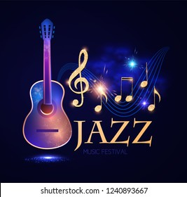 Jazz Concert. Music Design Element with Guitar, Notes and Swirling Stave with Light Effects. Vector illustration