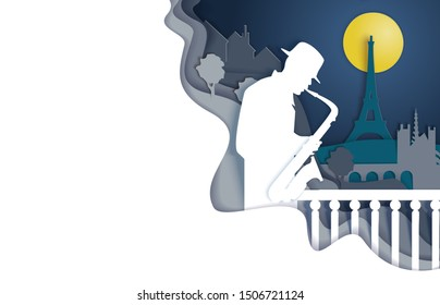 Jazz concert or music festival poster design template, vector illustration in paper art craft style. Musician playing saxophone silhouette.