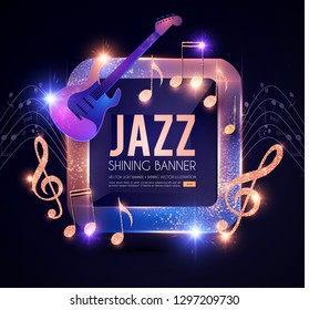 Jazz Concert Poster Template with Guitar, Shining notes and Banner with Lights. Music Event. Vector illustration