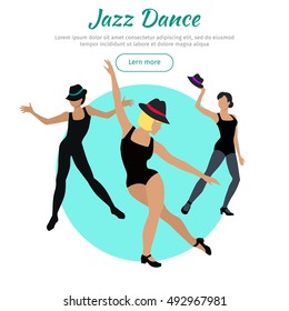 Jazz dance concept web banner. Jazz flat style vector. Three women in tights, shirts and hats dancing jazz. Contemporary choreography. Dancing school, party, cultural event, festival design