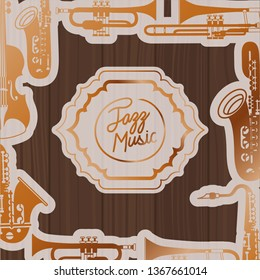 jazz day frame with instruments and wooden background