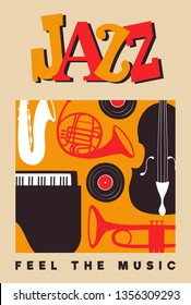 Jazz Day poster illustration for music festival event or concert. Retro background with mid century vintage style band instruments.
