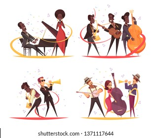 Jazz design concept with cartoon characters of musicians on stage with instruments and note silhouettes vector illustration