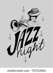Jazz emblem with a trumpeter musician. Isolated vector illustration. Design element for the create of the label, brochures, posters