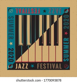 Jazz Festival 2020 Avant Garde Poster Concept with Keys Inverted over Natural Yin Yang Style Composition and Logo Lettering - Black and White on Reverse Background - Vector Graphic Silhouette Design