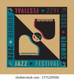 Jazz Festival 2020 Avant Garde Poster Creative Concept with Two Grand Pianos Yin Yang Style Composition and Logo Lettering - Black and White on Reverse Background - Vector Graphic Silhouette Design