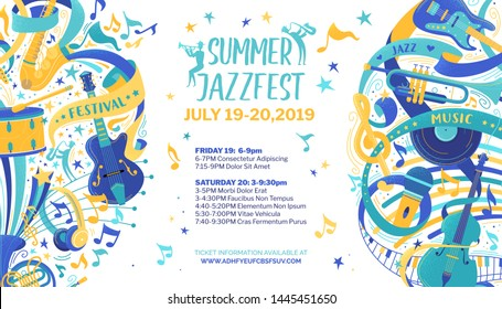 Jazz festival flat vector web banner template. Classical music concert, summer event, retro fest poster. Percussion, string instruments color illustration. Blues, rock and roll band performance