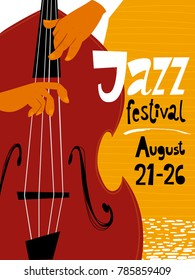 Jazz festival poster with double bass musician