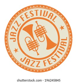 Jazz Festival stamp or label, vector illustration