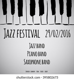 Jazz festival. Vector poster. Black text and white background.