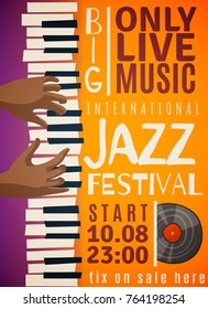 Jazz festival vertical poster with hands of african person playing on piano, record, orange background vector illustration
