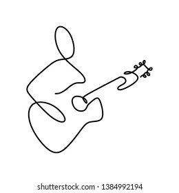 Jazz guitar classical music instrument player performer continuous one line drawing