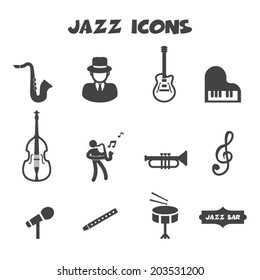 jazz icons, mono vector symbols