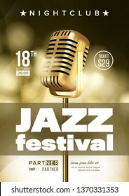 Jazz Improvisation Festival Flyer, Brochure Vector Template. Music Improvisation Concert Announcement, Promo Banner. Nightclub Entertainment Evening Playbill Concept. Microphone Realistic Illustration
