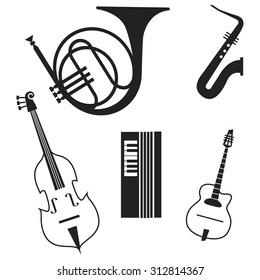 Jazz instrumets icon set isolated background