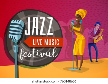 Jazz live music horizontal poster with singer in yellow dress near microphone, musician with saxophone vector illustration