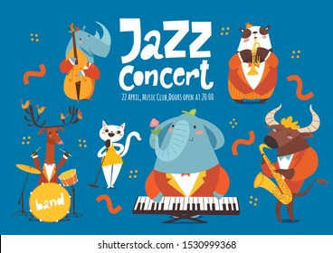 Jazz music advertisement or poster design with cartoon animals playing music instruments and singing