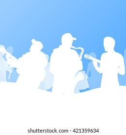 Jazz music band vector background illustration