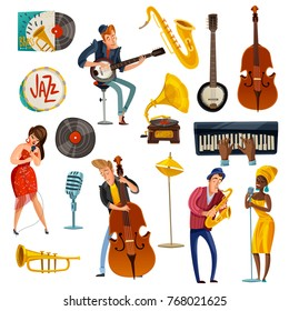 Jazz music cartoon set with singers in bright dresses, performers on sax, cello, banjo isolated vector illustration