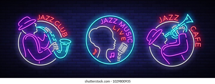Jazz music collection of logos in neon style. Set of neon sign symbols, emblem, light banner, luminous sign. Bright Neon Advertising for Jazz Club, Cafe, Restaurant, Bar, Party. Vector illustration