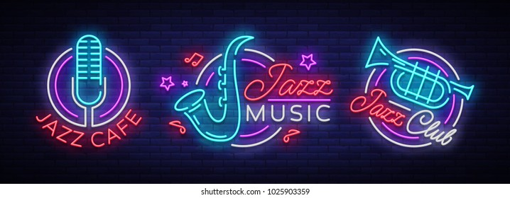 Jazz music collection neon signs. Symbols, collection of logos in neon style, bright night banner, luminous advertising on Jazz music for Jazz cafe, restaurant, party, concert. Vector illustration