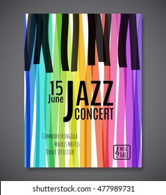 Jazz music concert  background. Keyboard vector illustration. Music event Flyer or Poster template design.