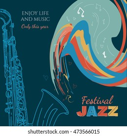 Jazz music cover saxophone live Jazz music hand drawn vintage vector illustration