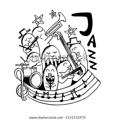 Jazz Music Cute Kawaii Doodle Hand Stock Vector Royalty Free
