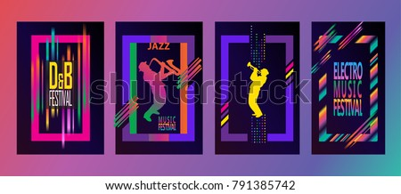 100% authentic 3dafb 6d5b8 Jazz music festival abstract pop art dynamic shapes composition posters  set. Musicians, saxophone player