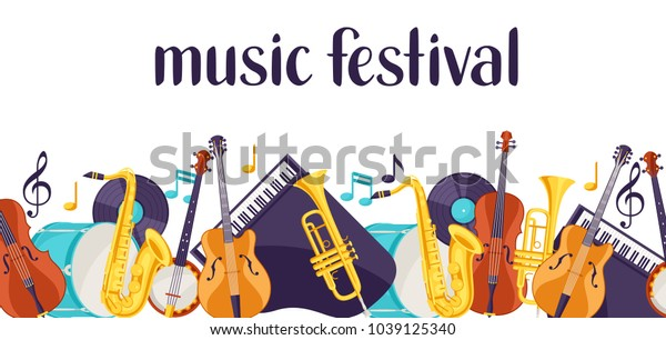 Jazz Music Festival Banner Musical Instruments Stock Vector (Royalty