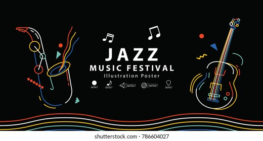 Jazz music festival banner poster illustration vector. Music concept.