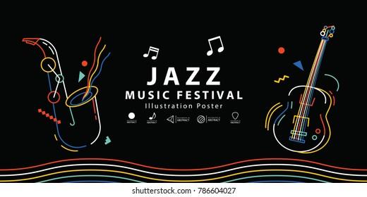 Jazz music festival banner poster illustration vector. Music concept.