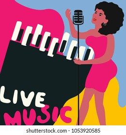 Jazz music festival colorful poster with piano and woman singer. Female singer with piano flat vector illustration. Jazz concert, live music