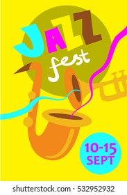 Jazz music festival colorful poster with date. Saxophone and trumpet musical instruments cartoon vector illustrations. For live concert, musical band performance tickets, flyer or banner design
