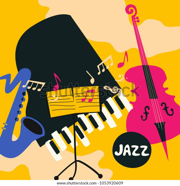 Jazz Music Festival Colorful Poster Music Stock Vector (Royalty Free