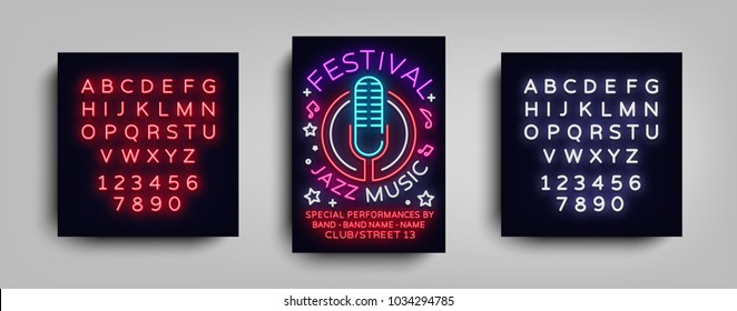 Jazz Music Festival Design Template Typography in Neon Style. Neon Sign, Bright Advertising, Flyer Invitation to the Party, Festival, Jazz Music Concert. Vector illustration. Editing text neon sign