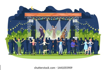 Jazz music festival flat vector illustration. Night retro concert in park. Open air live performance. People having fun at jam session. Rock-n-roll party. Musicians and spectators cartoon characters
