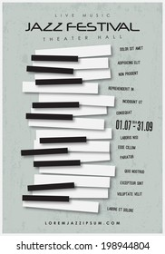 Jazz music festival, poster background template. Layers (background, texture, keyboard, text). Vector design.