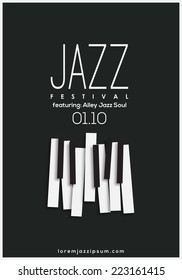 Jazz music festival, poster background template. Vector design.
