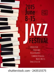 Jazz music festival, poster background template. Keyboard with music notes. Flyer Vector design.
