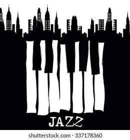 Jazz music festival, poster background template. Vector design.