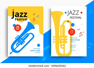 Jazz music festival poster design template with trumpet. Vector illustration flyer for jazz concert.