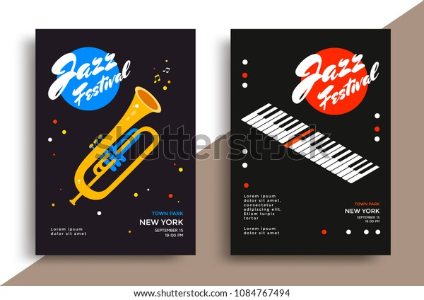 Jazz Music Festival Poster Design Template Stock Vector (Royalty