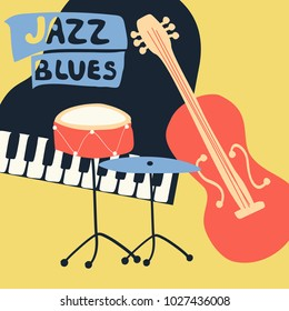 Jazz music festival poster with music instruments. Piano, violoncello and cymbals flat vector illustration. Jazz concert