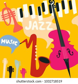 Jazz music festival poster with music instruments. Saxophone, piano, violoncello and trumpet flat vector illustration. Jazz concert
