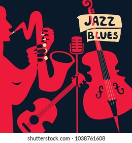 Jazz music festival poster with music instruments. Saxophone, guitar, violoncello and microphone flat vector illustration. Jazz concert poster template with saxophonist