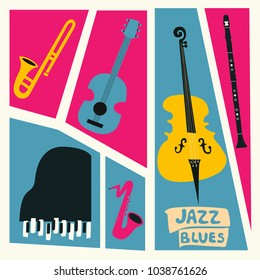 Jazz music festival poster with music instruments. Saxophone, trumpet, guitar, violoncello, piano and clarinet flat vector illustration. Jazz concert