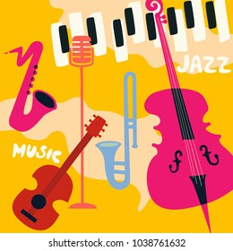 Jazz music festival poster with music instruments. Saxophone, trumpet, guitar, violoncello, piano and microphone flat vector illustration. Jazz concert